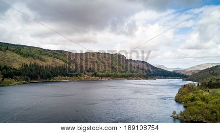 Thirlmere, Lake District, England. Aerial drone view north over Thirlmere reservoire in the English Lake District on a cloudy spring day.