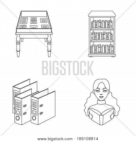 A table with old documents, bookshelves, folders, a visitor. A library and a bookstore set collection icons in outline style vector symbol stock illustration .