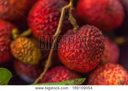 Fresh lychee (lichee) fruits. Shallow depth of field.
