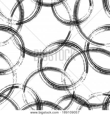Hand made Seamless pattern from sketching pencil hatching circles. Sketch weaving design.