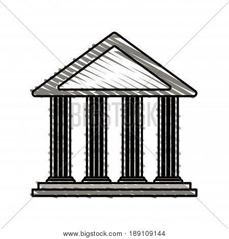 color crayon stripe cartoon skecth parthenon architecture icon vector illustration