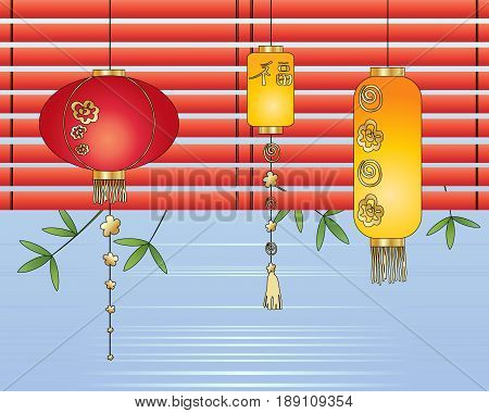 an illustration of a display of chinese lanterns blinds bamboo and water in a greeting card format