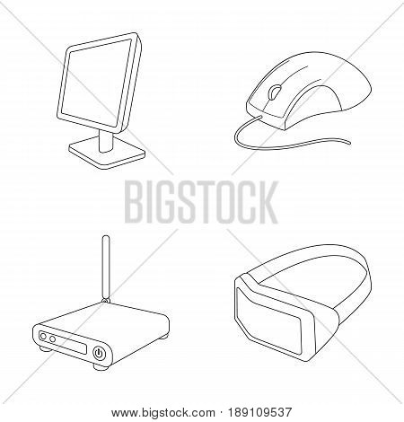 Monitor, mouse and other equipment. Personal computer set collection icons in outline style vector symbol stock illustration .