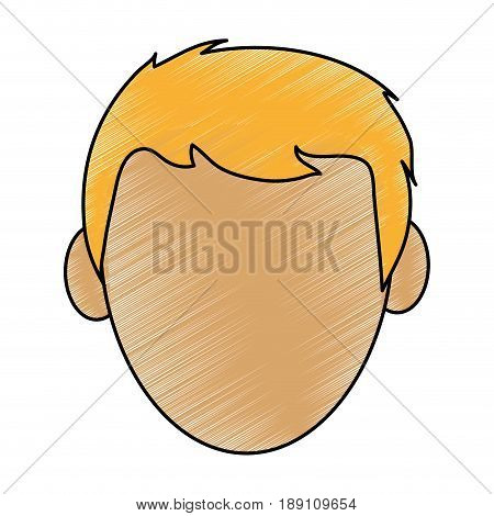 color pencil cartoon front view faceless front view man with blond hair vector illustration