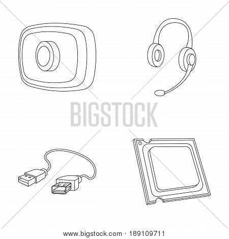 Webcam, headphones, USB cable, processor. Personal computer set collection icons in outline style vector symbol stock illustration .