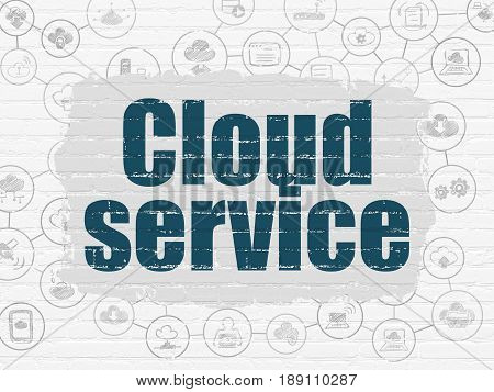 Cloud networking concept: Painted blue text Cloud Service on White Brick wall background with Scheme Of Hand Drawn Cloud Technology Icons