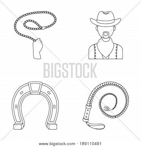 Hand lasso, cowboy, horseshoe, whip. Rodeo set collection icons in outline style vector symbol stock illustration .
