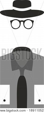 Invisible man with Bowler hat on white background