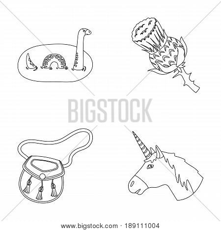 Loch Ness monster, thistle flower, unicorn, sporan. Scotland country set collection icons in outline style vector symbol stock illustration .