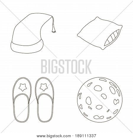 Night cap, pillow, slippers, moon. Rest and sleep set collection icons in outline style vector symbol stock illustration .