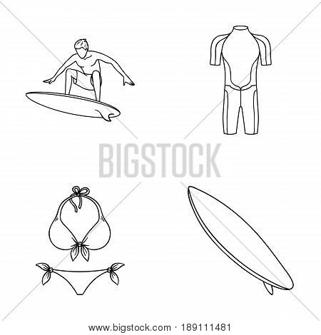 Surfer, wetsuit, bikini, surfboard. Surfing set collection icons in outline style vector symbol stock illustration .