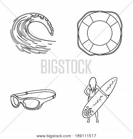 Oncoming wave, life ring, goggles, girl surfing. Surfing set collection icons in outline style vector symbol stock illustration .