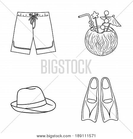 Swimming trunks, cocktail with coconut, panama and flippers. Surfing set collection icons in outline style vector symbol stock illustration .