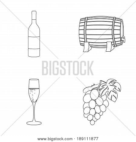 A bottle of red wine, a wine barrel, a glass of champagne, a bunch. Wine production set collection icons in outline style vector symbol stock illustration .