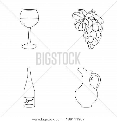 A glass of red wine, champagne, a jug of wine, a bunch. Wine production set collection icons in outline style vector symbol stock illustration .