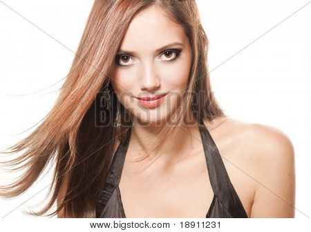 Young girl with bright makeup and beautiful hair