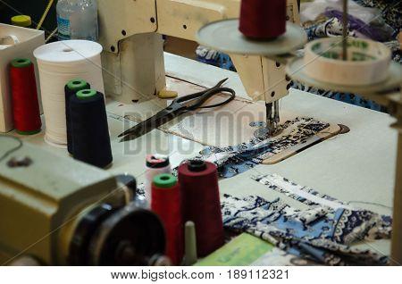 Close up shot of a sewing machine