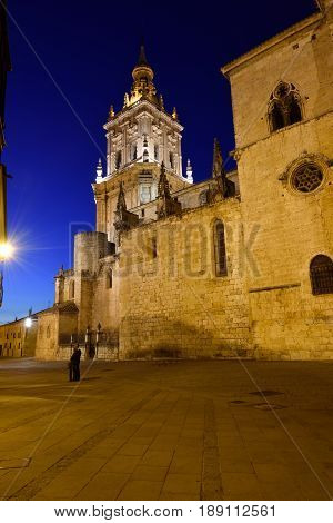 Night at Cathedral of El Burgo de Osma Soria province Castilla-Leon Spain