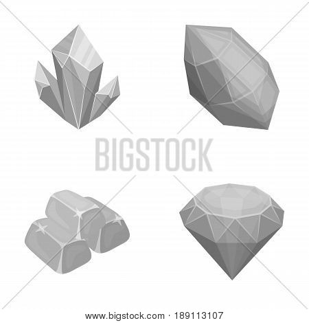 Crystals, minerals, gold bars. Precious minerals and jeweler set collection icons in monochrome style vector symbol stock illustration .