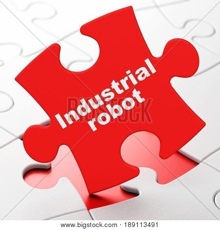 Manufacuring concept: Industrial Robot on Red puzzle pieces background, 3D rendering