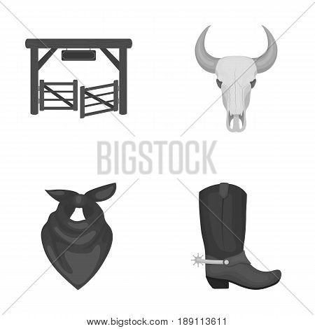 Gates, a bull s skull, a scarf around his neck, boots with spurs. Rodeo set collection icons in monochrome style vector symbol stock illustration .
