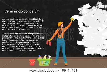 A cartoon woman cleaner wipes away a dark dirty wall. Painting a color wall. Website reconstruction