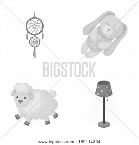 Dream catcher, soft toy sheep and rabbit, floor lamp. Rest and sleep set collection icons in monochrome style vector symbol stock illustration .