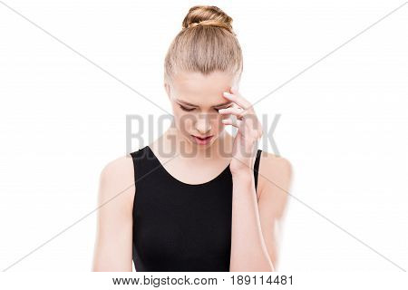 Sad Woman With Headache And Closed Eyes Touching Her Head Isolated On White