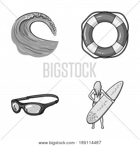 Oncoming wave, life ring, goggles, girl surfing. Surfing set collection icons in monochrome style vector symbol stock illustration .