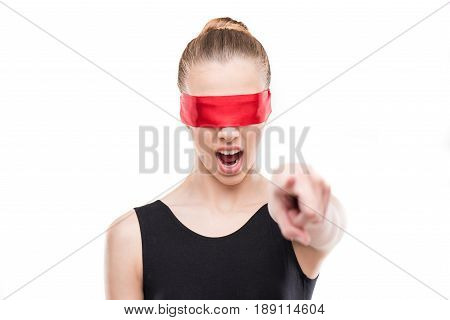 Gymnast In Leotard With Eyes Covered With Red Ribbon Yelling And Gesturing Isolated On White