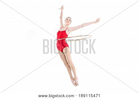 Sportive Rhythmic Gymnast Training With Hoop On Waist Isolated On White