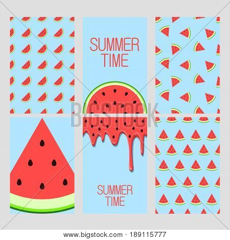 Set of bright cards. Set of watermelon on blue background. Juicy bright segments of watermelon seamless pattern, background, card, poster.  Watermelon's juice pattern, background. Template for design