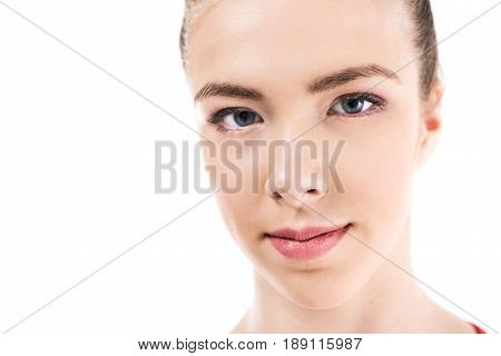 Close Up Portrait Of Young Caucasian Woman Looking At Camera Isolated On White