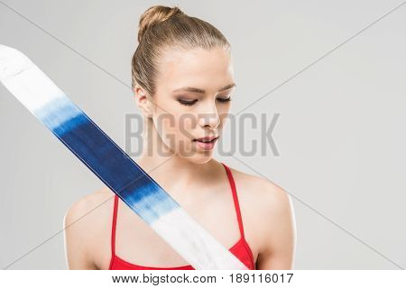 Young Caucasian Woman Rhythmic Gymnast With Colorful Rope