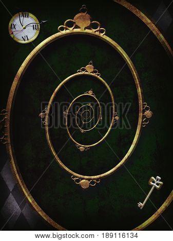 Alice in wonderland. Spiral frame. Illustration Droste Effect. 3D Iillustration