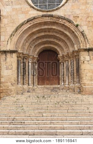 Gateway of Romanesque church of Santiago XII-XIII centuries. Coimbra Portugal