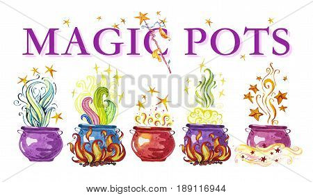 Artistic watercolor hand drawn magic pots illustration with stars smoke fire and wizard wan isolated on white background. Fairy tale magician. Children illustration.