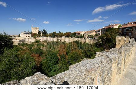 Walls of Segovia in Castilla Leon Spain