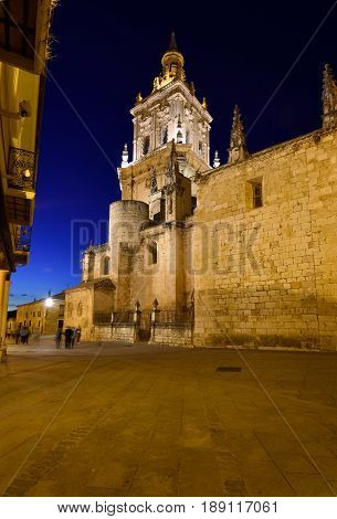Night at the Cathedral El Burgo de Osma Soria province Castilla-Leon Spain