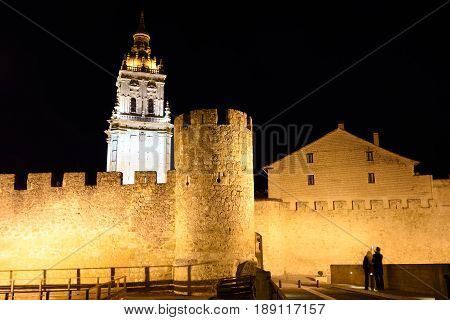 Night at the Cathedral and walls El Burgo de Osma Soria province Castilla-Leon Spain