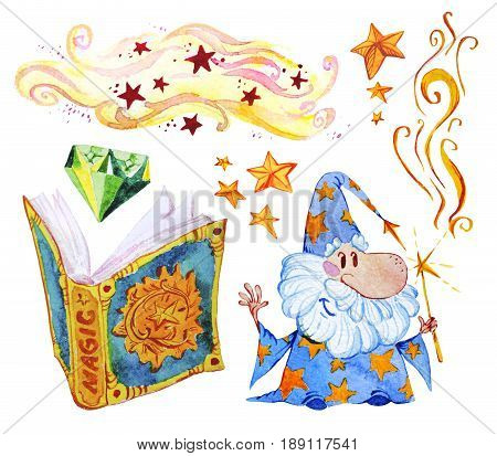 Watercolor artistic collection of magic hand drawn elements isolated on white background. Kind wizard with magic wand smoke spell book diamond and stars set. Fairy tale children illustration.