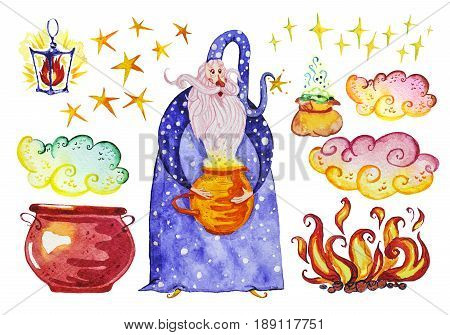 Watercolor artistic collection of magic hand drawn elements design isolated on white background. Wizard pot smoke fire magic powder bag and lantern set. Fairy tale children illustration.