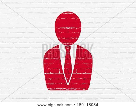 Law concept: Painted red Business Man icon on White Brick wall background