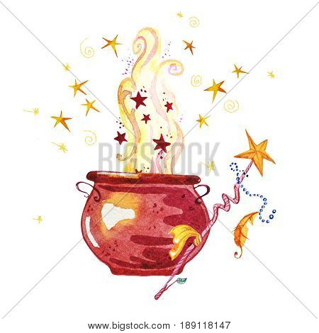 Artistic watercolor hand drawn magic pot illustration with stars smoke fire and wand isolated on white background. Fairy tale magician. Children illustration.