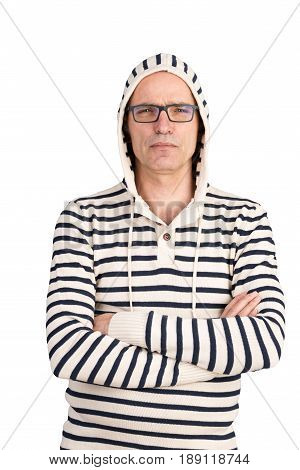 attractive candid european middle-aged male with hoodes sweater looking grumpy - isolated on white background