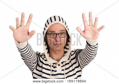 attractive candid european middle-aged male in hooded sweater with calm down gesture - isolated on white background