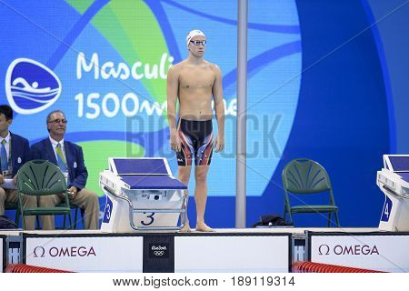Rio de Janeiro Brazil - august 13 2016: DETTI Gabriele (ITA) during men's 1500 metre swimming freestyle of the Rio 2016 Olympics Games Rio 2016