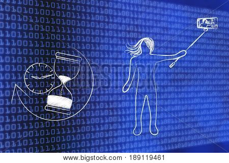 Woman Taking A Selfie Next To Clock & Hourglass, Ephemeral Internet