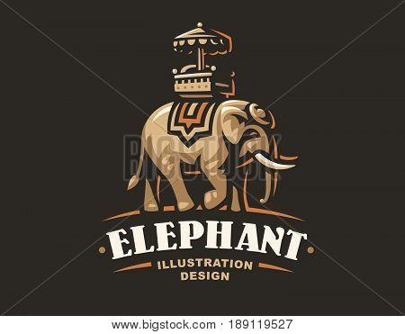 Indian elephant logo - vector illustration, emblem design on dark background