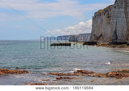 Normandy limestone cliffs with its beautiful shape